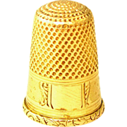 SALE Antique French 18K Yellow Gold Hallmarked Sewing Thimble
