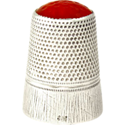 SALE Continental .800 Silver & Carnelian Stone Topped Sewing Thimble