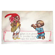 SALE Black Americana: Pucker Up Vintage Postcard - 1915