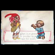 SALE Black Americana: Pucker Up Vintage Postcard - 1915