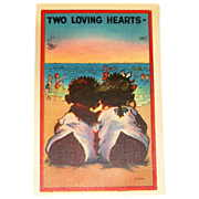 SALE Black Americana: Two Loving Hearts Postcard - Marked