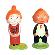 SOLD Maggie & Jiggs Cartoon Characters Pottery Nodders/Bobble Heads Set - marked - Red Tag