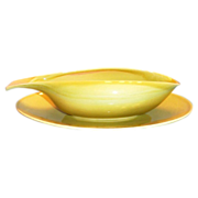 """Russel Wright """"American Modern"""" Chartreuse Curry Gravy Boat & Liner - Marked"""