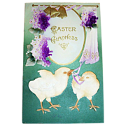Easter Gladness: Air Brush Chicks & Violets Postcard