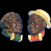 SALE Black Americana: Terra Cotta Minstrel Wall Banks - 1950s