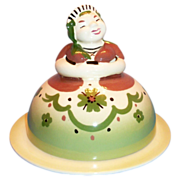 SALE California Pottery: Cleminsons: Dutch Frau Handpainted Porcelain Figural Covered Butter D