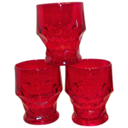 Ruby Red Georgian Honeycomb Juice Glass