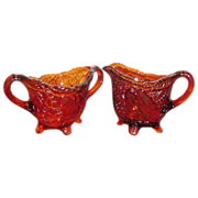 Tiara Dark Amber Glass Sweet Pear Sugar & Creamer