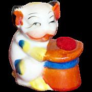 Handpainted Porcelain Dog & Hat Pincushion - Japan