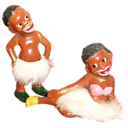 SALE Black Americana: African Tribe Boy & Girl Hand Painted Porcelain Figurines