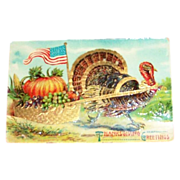 SOLD ABS: Thanksgiving Greetings: Turkey Pulling Pumpkin in Cart Postcard