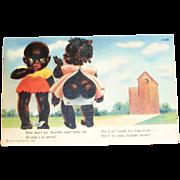 Black Americana: Don't Yo Dawdle Postcard - Curt Teich