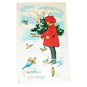 """Christmas Greetings"" Girl Feeding Birds Postcard - Marked"