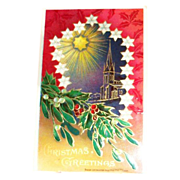 "B&S: ""Christmas Greetings"" Holly & Berries With Scenic Church & Star Design Postcard"