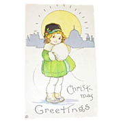 "Stecher Litho Co.: ""Christmas Greetings"" Little Girl & Muff Design Postcard"