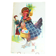 "SALE ""Welcome Easter Morning"" Chicken With Basket Of Eggs Postcard"