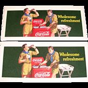 "1942 Coca Cola Boy Scouts & Bottle Cooler ""Wholesome Refreshment"" Cardboard Blotter"