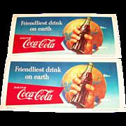 Advertising: Coca Cola: Friendliest Drink On Earth Cardboard Blotter - Marked