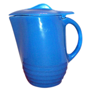 Vintage Country Blue Lidded Stone Ware Pitcher