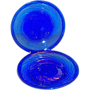 SALE Vintage Cobalt Blue Swirl Design Mexican Plate