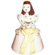 California Pottery: Cleminson's Young Girl Figurine String Holder - Marked