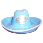 1936 Texas Centennial Exposition Delphite Blue Cowboy Hat Souvenir - Marked