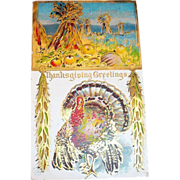Thanksgiving Greetings: Turkey & Pumpkin Scene Postcard