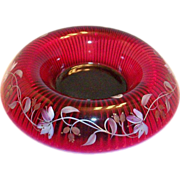 SALE Fenton Glass Hand Painted & Signed Ruby Red Console Bowl & Stand