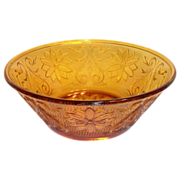 Tiara Amber Sandwich Glass Round Serving Bowl