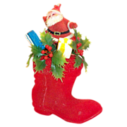 SALE 1950's Red Felt Covered Santa Claus Boot Decoration