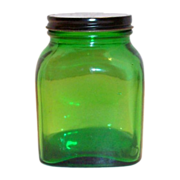 Owens Duraglas Green Transparent Square Glass Jar