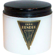 Theo Bender: White Glass Vanity Jar With Black Tin Lid