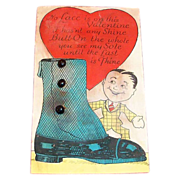 "Vintage ""No Lace Is On This Valentine...."" Button Top Shoe Valentine"
