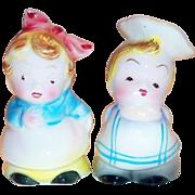 PY Small Porcelain Little Chef & Waitress Salt & Pepper Set