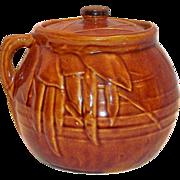 SALE McCoy #2 - 2 Qt Brown With Leaf & Bean Pattern Bean Pot