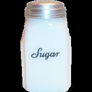 "McKee Roman Arch Script ""Sugar"" White Glass Shaker"