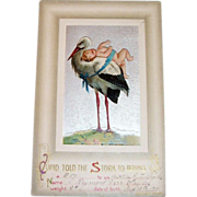 """Cupid Told The Stork To Bring"" Baby Announcement Postcard"