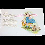 """A Happy Easter"" Cute Little Girl & Bunny Postcard"