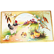 """""""Easter Greetings"""" Farm Scene with Rooster & Chicks Postcard"""