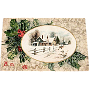 Vintage 1912 A Merry Christmas Scenic Postcard