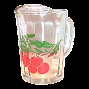 Cherry & Leaf Design On Clear Glass Pitcher