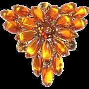 Amber Glass Marquis & Rhinestones Pin
