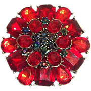 SALE Vintage 3 Tier Rich Red Cabochons With Dark Green Rhinestones Pin/Brooch