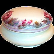 SALE Favorite Bavaria Hand Painted Rose Design Covered Powder Dish