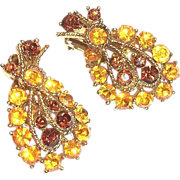 Lovely Topaz & Amber Glass Rhinestone Leaf Design Earrings