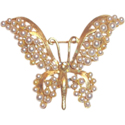 SALE Lovely Gold Tone & Imitation Pearl Butterfly Pin
