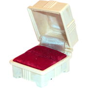 SOLD Vintage Plastic Creme Colored Ring Display Box