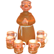 Lefton Friar Monk Hand Painted Porcelain Decanter & Mugs