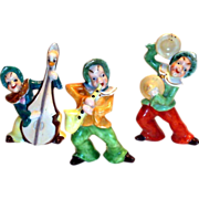 3 Pc Hand Painted Porcelain Musical Pixie Elves Figurine Set