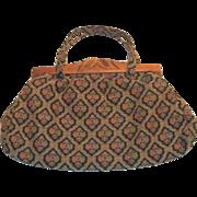 SALE 1940's Vintage Cloth & Wooden Frame Handbag